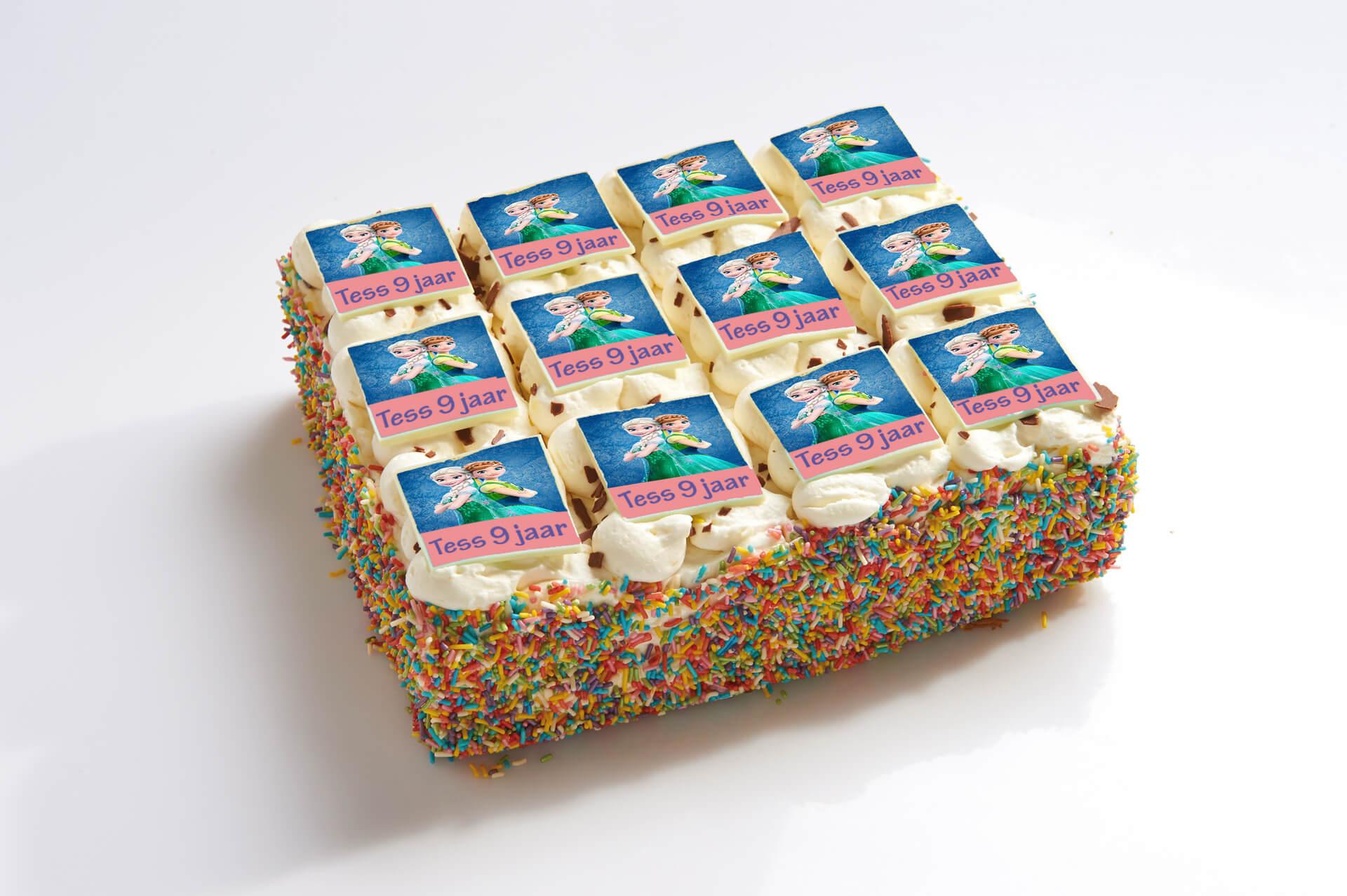 Frozen stripjes taart