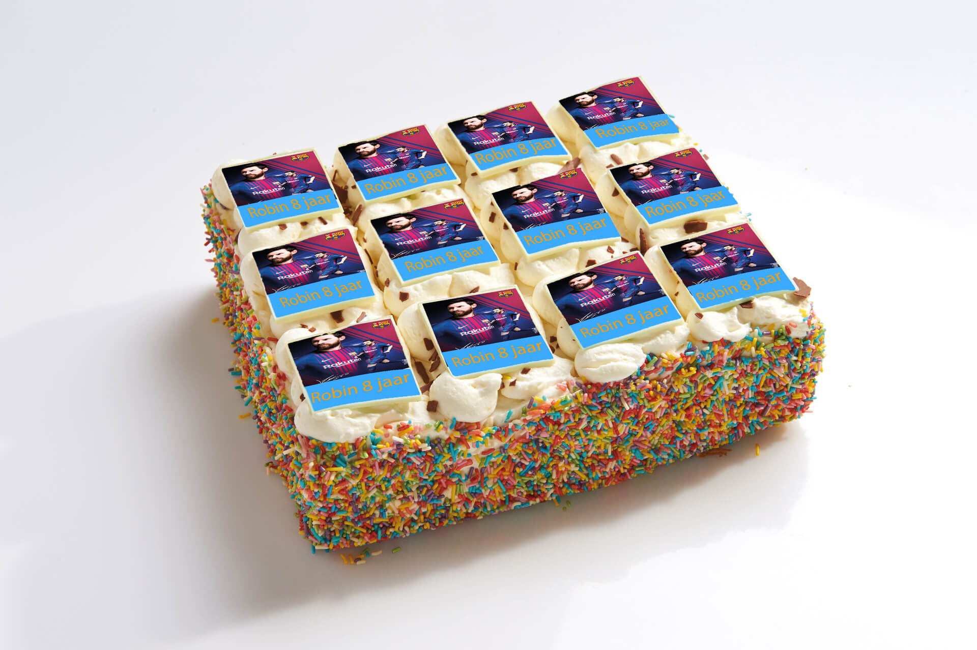 Messi stripjes taart