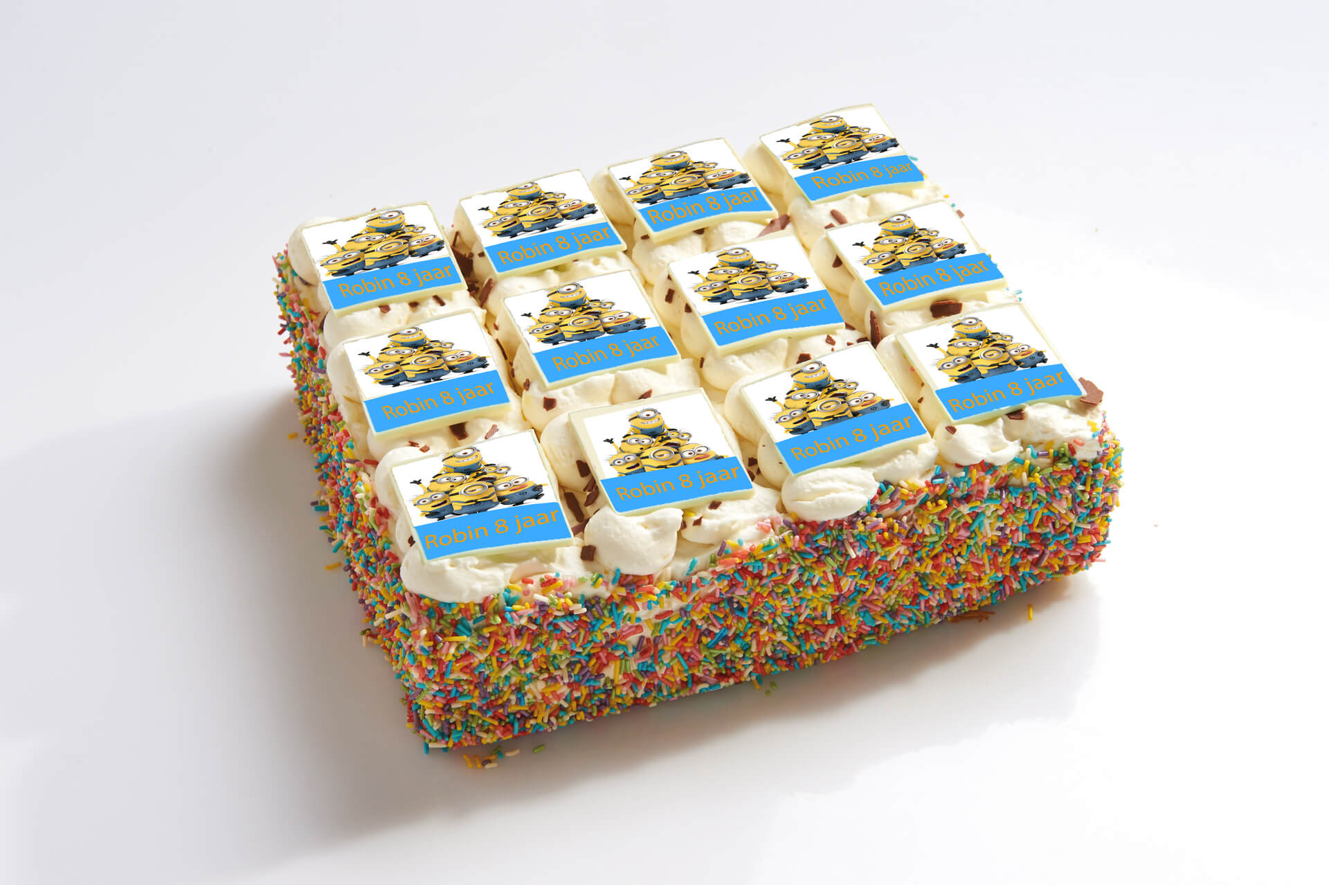 Minions stripjes taart