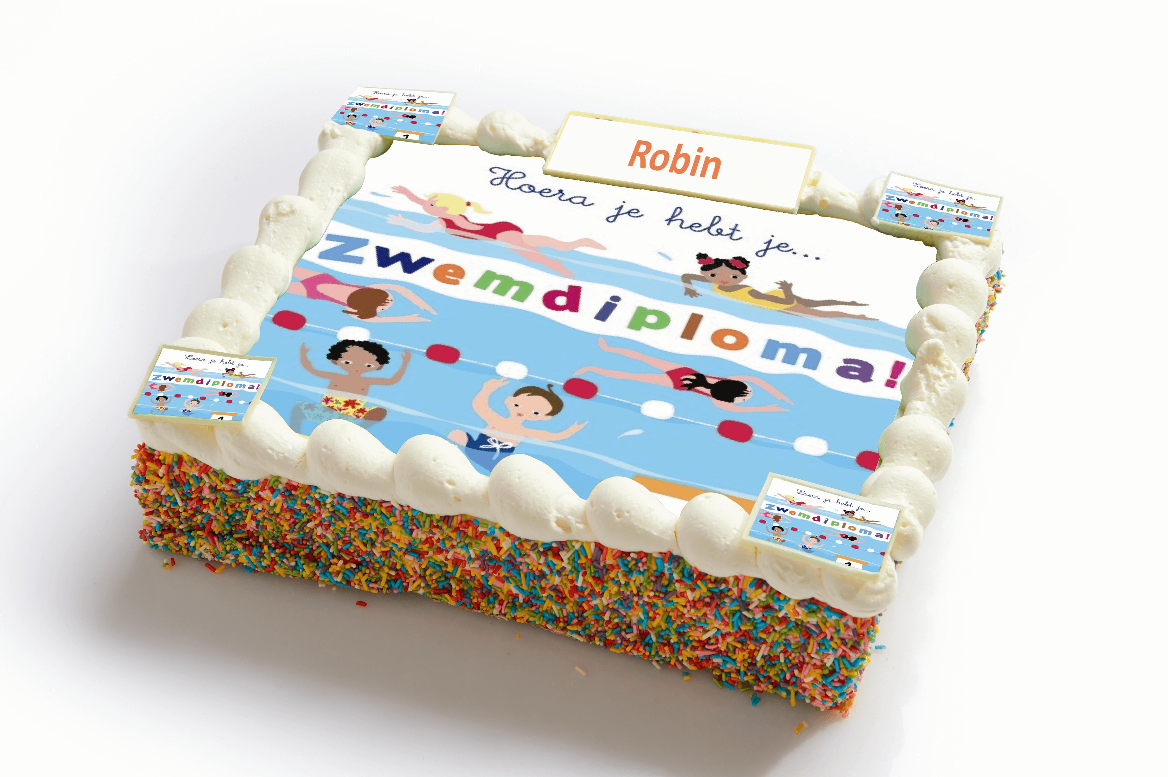 Zwemdiploma strip taart