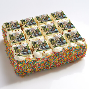 Dino's stripjes taart