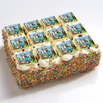 Minecraft stripjes taart